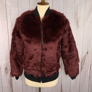Say What Burgundy Faux Fur Bomber Jacket XS